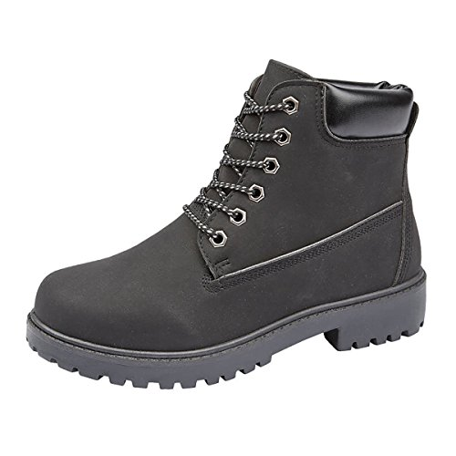 Rugged Shoes Army Grip Hiking Winter Black Ankle Ladies Biker Size Padded Boots Flat Combat Sole Walking Womens qg0qxUw6v