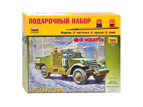 ZVEZDA 3519 P - Armored Personnel Carrier M-3 Scout CAR - Gift Set (Paints Included) Plastic Model Kit Scale 1/35 171 Parts Lenght 6.25
