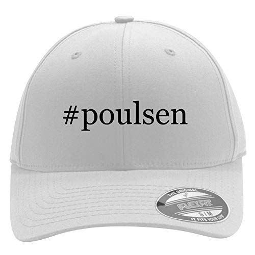 #Poulsen - Men's Hashtag Flexfit Baseball Cap Hat, White, Large/X-Large ()