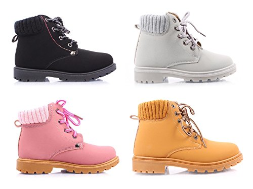 Sweet eCom Kids Girls Ankle-High Combat Zipper and Laces NuBuck Boots Winter Season Cold Weather Shoes
