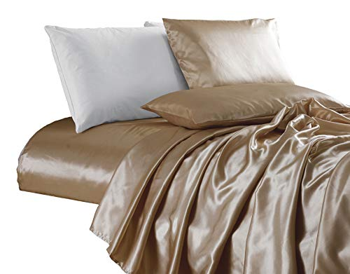 - Chezmoi Collection 4-Piece Bridal Satin Solid Color Sheet Set (King, Champagne)