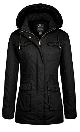 Wantdo Women's Winter Sherpa Lined Parka Coat Warm Jacket with Removable Hood