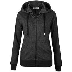 MAJECLO Women's Active Slim Fit Zip-Up Hoodie Jacket Long Sleeve Sweatshirt (X-Large, Slim_Charcoal)