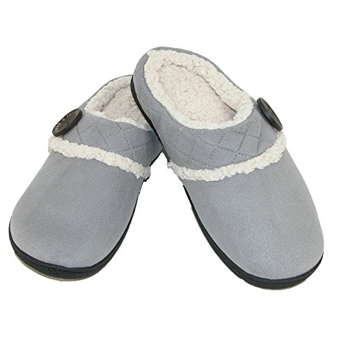Dearfoams Women's Microsuede Clog Slipper with Memory Foam Medium Grey ThEHqfM2V