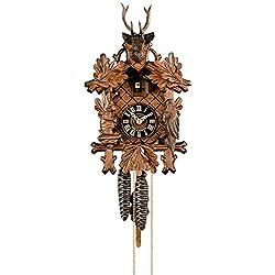Cuckoo Clock 3-leaves, head of a deer
