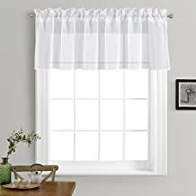 """NICETOWN Kitchen Window Treatment Voile Valances - Small Window Linen Look Sheer Curtain Tiers for Cafe Store by (White, 2 Panels Per Package, 55"""" Wide x 18"""" Long)"""
