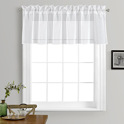 NICETOWN Kitchen Window Treatment Voile Valances - Small Window Linen Look Sheer Curtain Tiers for Cafe Store (White, 2 Panels Per Package, 55 Wide x 18 Long)