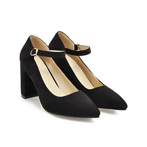 Qin&X Las Mujeres del Bloque Talón Señaló Toe Zapatos Boca Superficial Negro