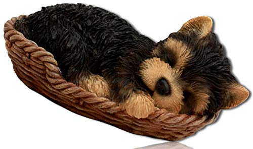 (mySimpleProduct.Shop Cute Adorable Pet Highly Detailed Realistic Yorkshire Terrier Puppy Laying Down Sleeping Napping on Wicker Waved Basket Dog Bed Statue Figurine Sculpture + Certificate)
