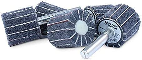 """- 5 Pack BHA Interleaf Shank Mounted Flap Wheels for Sanding and Finishing 1/"""" x 1/"""" x 1//4/"""" Gray Ultra Fine"""