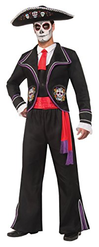[Day of The Dead Mariachi Macabre Costume - Standard - Chest Size up to 42] (Dia De Los Muertos Mariachi Costume)