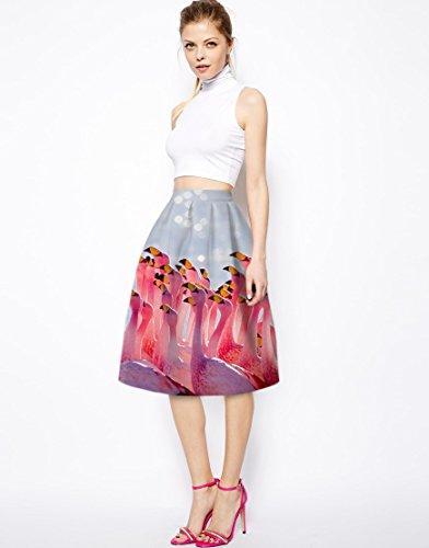 NiSeng Mujer Animal Print Cintura Alta Faldas Plisadas A-Line Midi Skirt Como cuadro
