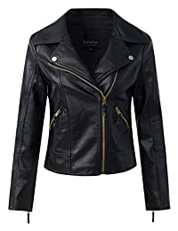Sungtin Women's Faux Leather Slim Motorcycle Biker Short Jacket Coat