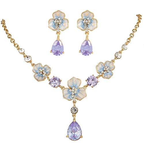 EVER FAITH® Séduisant Pourpre Fleur Cristal Autrichien Larme CZ Parures Bijoux Ton d'Or N05778-3