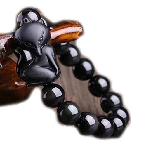 Natural Black Obsidian Stone Bracelets 12mm Bead with Crystal Lucky for Men Women Bracelet Jewelry,Beads Size 10mm