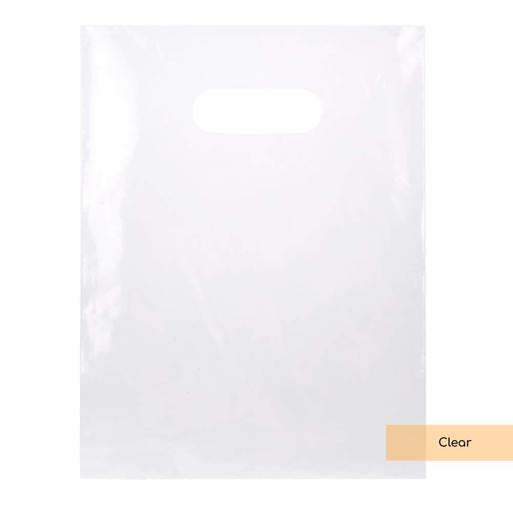 LDPE Solid Handle Bag | 100 Bags | Clear | Size 9 in x 12 in | Merchandise Bag with Die Cut Handles Tear Resistant Strength | Perfect for Trade Shows, Retail, and More