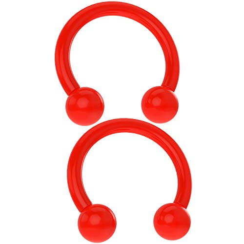 Red Circular Earring - Bling Piercing 2pcs Acrylic Horseshoe Circular Barbell 16 Gauge 5/16 Red Plastic UV Flexible Cartilage Earrings