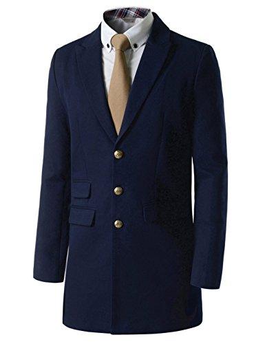 Showblanc (SBDJC04) Stylish Casual Longline Jacket Cotton Outerwear Twill Coat NAVY US XXS(Tag size M)