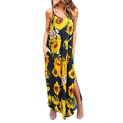 Chaofanjiancai Maxi Dress Women Summer Casual Pockets Strappy Long Dress Sleeveless Beach Cami Split Dress Yellow