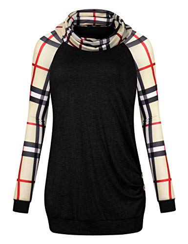 (Marbetia Women's Plaid Long Sleeve Cowl Neck Shirt (X-Large, Black New))