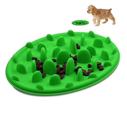 ed Fun Pizza Design Anti-choking Non-slip Silicone Interactive Bloat Stop Dog Pet Bowl Green S(9.47.11.2inch) (Soft Feed)
