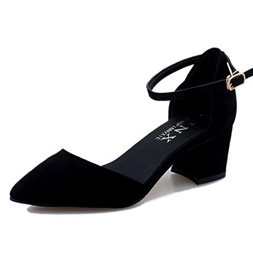 PUMPS Little Fresh Heels,Koreanische Version der Dicken Ferse Absätze,ein Wort Schnalle mit Spitzen Schuhen-A Fußlänge=22.3CM(8.8Inch)