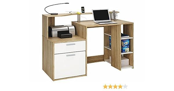 Escritorio Mesa de Ordenador Multimedia 140cm. Roble y Blanco ...