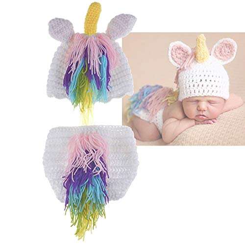 (Newborn Photography Props Unicorn Costume Crochet Knit Outfits 3 to 12 Months Newborn Shoot (Pink)