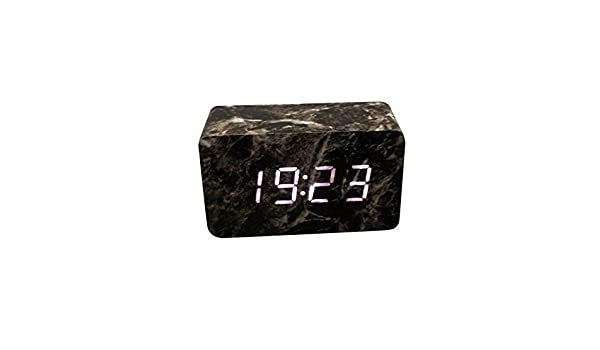 Amazon.com: Alimao Voice Control Calendar Thermometer Wooden LED Digital Alarm Clock USB/AAA Black: Clothing
