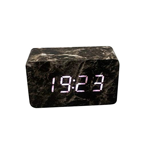- Smdoxi Alarm Clock Rectangular Wooden Marble Head line USB Charging Fashion Home Decoration Ornaments Bedside Alarm