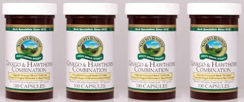 Naturessunshine Ginkgo & Hawthorn Combination Support Circulatory System 100 Capsules (Pack of 4)
