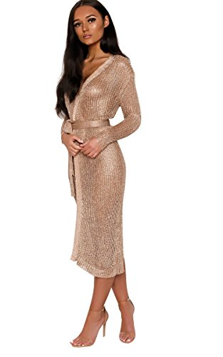 IKRUSH Women's Lorna Metallic Knit Dress in Rose Gold Size M/L