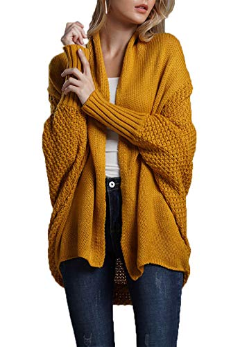 HZSONNE Women's Casual Long Bat Wing Sleeve Open Cardigan Chunky Crochet Slouchy Wrap Sweater Blouse Knitted Tops (Yellow, One Size)