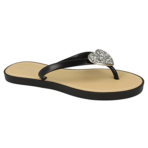 Ladies Toe Womens Black Sparkling Flip Open Flops Savannah Heart 76Rw1xqU