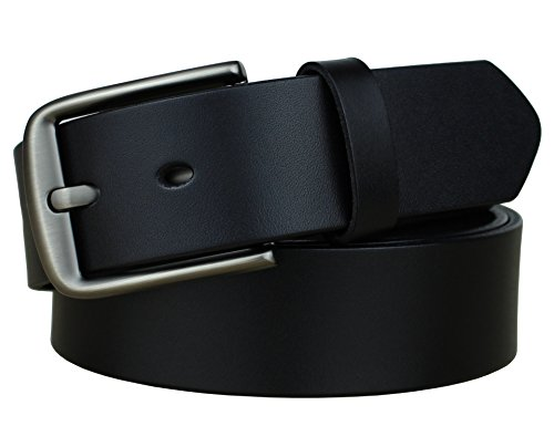 Bullko Mens Casual Genuine Leather Dress Belt Jean Classic Buckle Black 34-36
