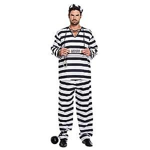 Amazon.com: Para hombre blanco y negro prisionero Convict ...