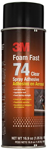 3M Foam Fast 74 Spray Adhesive Clear, (Net Fill: 16.9 fl Ounce)(Pack of 1) by 3M