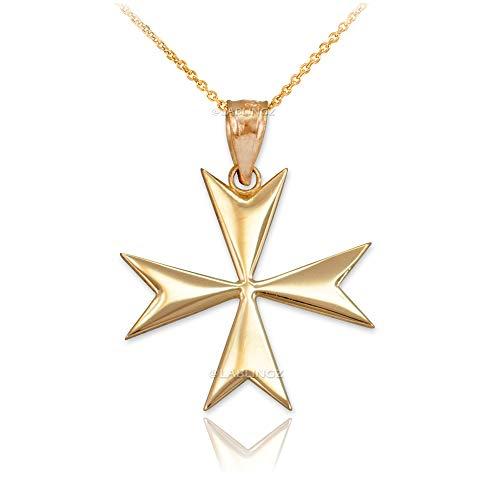 LA BLINGZ 10K Yellow Gold Tiny Polished Maltese Cross Charm Necklace (16)