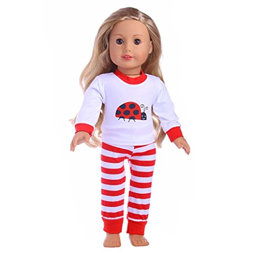 Fiaya 18 inch Our Generation American Girl Doll 2Pcs Cute Top+Stripe Pants Clothes (red)