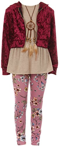 (BNY Corner Big Girl 4 Pieces Jacket Tank Top Legging Necklace Winter Girls Pant Set Burgundy 12 JKS)