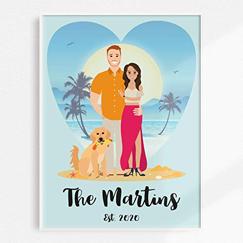 Custom Family Portrait Illustration, Personalized Family Picture, Custom Couple and Pet Portrait