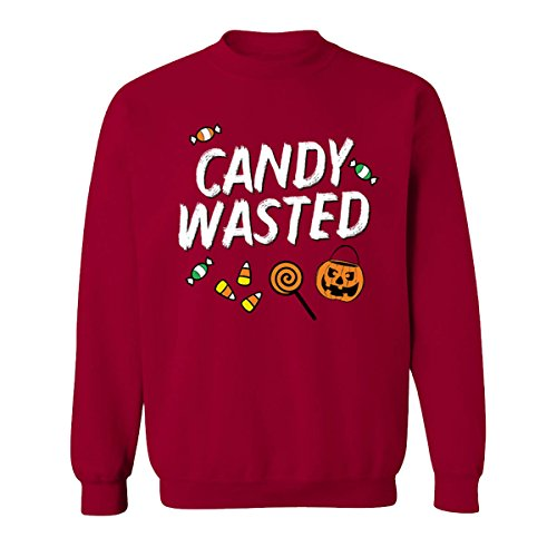 Halloween Candy Wasted Unisex Sweatshirt Pumpkin Scary Costume Spooky Skeleton (Cardinal (Top 20 Halloween Costumes Youtube)