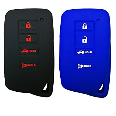 Coolbestda 2Pcs Silicone Smart Key Fob Skin Cover Protector Keyless Jacket Remote Holder for Lexus 2020 NX300h 2020-2013 ES350 GS350 2016-2013 GS300h GS450h 4buttons Smart Key Black Blue: Automotive