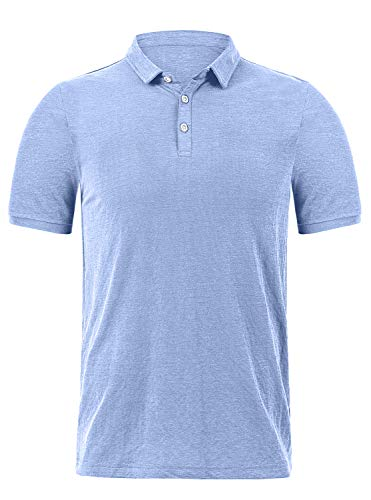 Classic Golf Sport Shirt - GEEK LIGHTING Men's Classic Fit Short Sleeve Solid Soft Cotton Polo Shirt(Blue,XL)