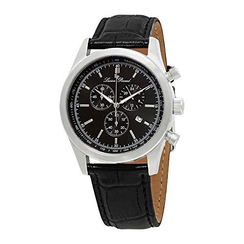 (Lucien Piccard Men's LP-11570-01 Eiger Chronograph Black Dial Black Leather Watch )