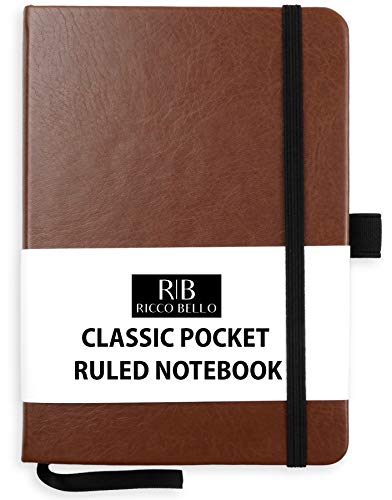 RICCO BELLO Classic Pocket College Ruled Banded Notebook, Pen Loop, Bookmark, 4.25 x 6 in. (Brown)