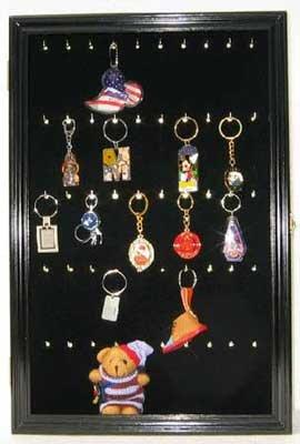 Keychain Display Case Wall Mounted Cabinet Shadow Box (Black Finish)