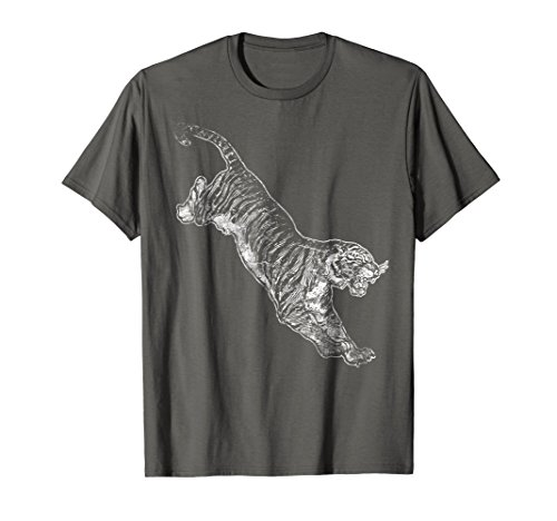 Mens Tiger Hunter Silhouette Spirit Animal T-Shirt Wildlif Large Asphalt -