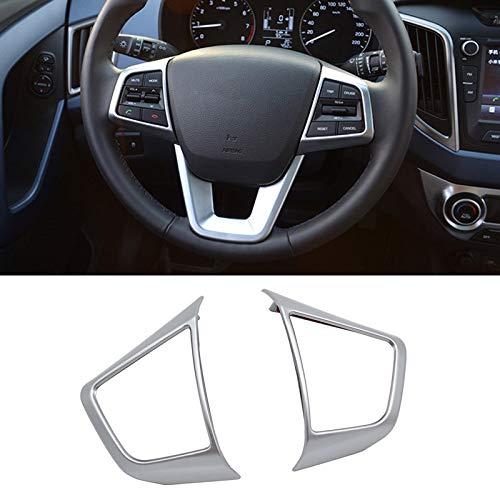 AUTOXBERT Fits for Hyundai Creta 2015 2016 2017 2018 2019Chrome Interior Steering Wheel Panel Cover Trim Badge Frame Molding Garnish Bezel Surround 2pcs
