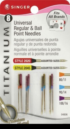 Titanium Universal Regular & Ball Point Machine Needles-Sizes 11/80 (2), 14/90 (4) & 16/100 (Titanium Ballpoint Needles)